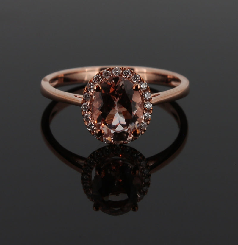9KT ROSE GOLD MORGANITE AND DIAMOND RING