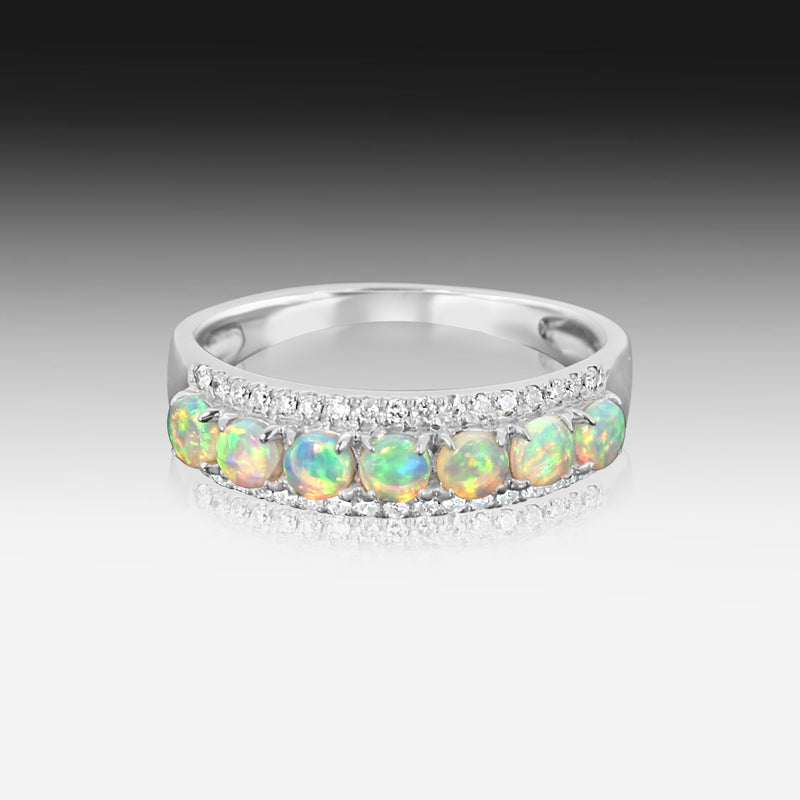 18kt White Gold 3 row eternity Opal and diamond ring