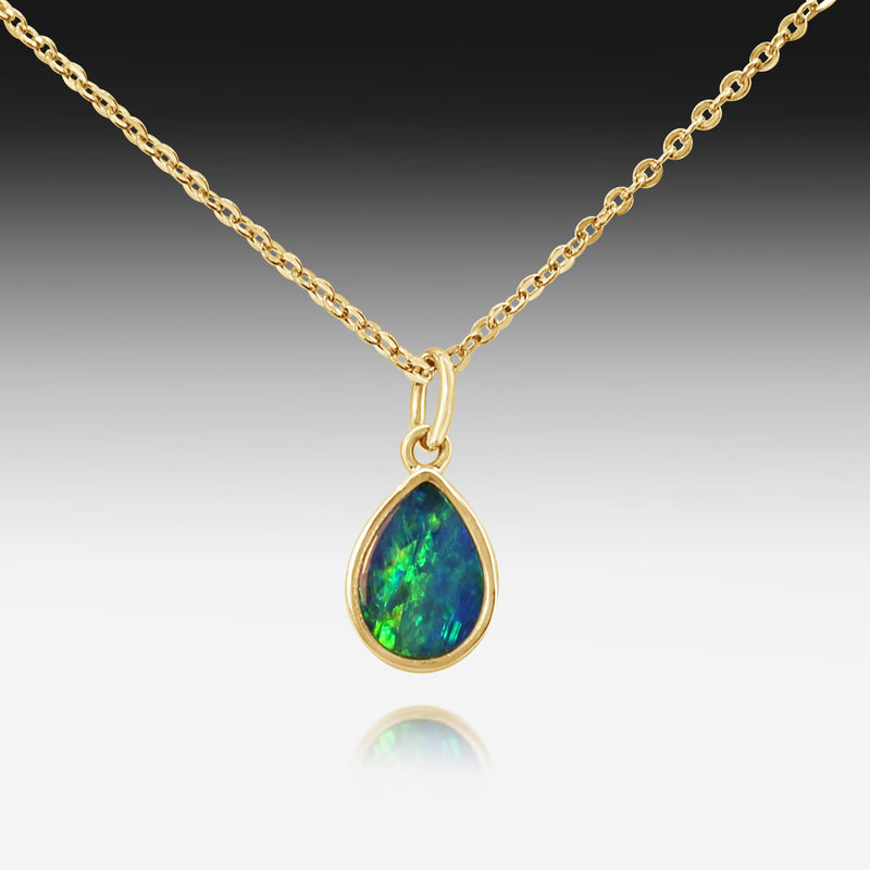 14kt Yellow Gold Pear shape Opal necklace - Masterpiece Jewellery Opal & Gems Sydney Australia | Online Shop