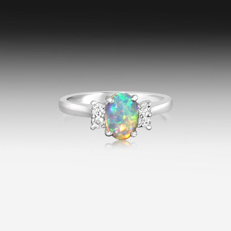 18kt White Gold Opal and Diamond ring - Masterpiece Jewellery Opal & Gems Sydney Australia | Online Shop
