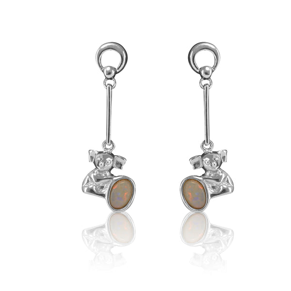 Sterling Silver Koala dangling White Opal earrings