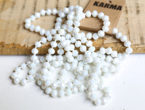 "white // 60"" Beaded Necklace"