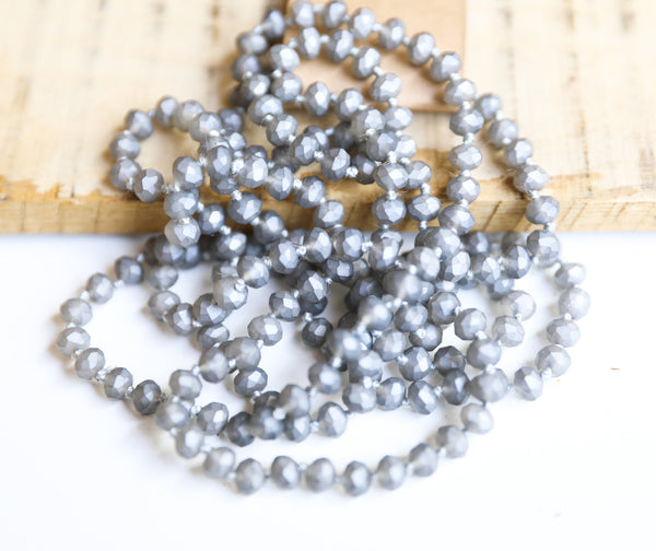 "Matte Grey // 60"" Beaded Necklace"