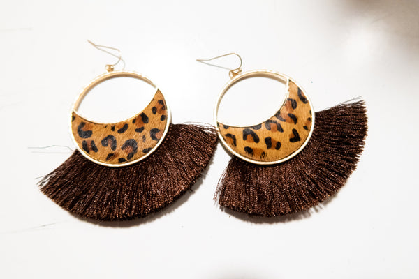 Circle Leopard and Fringe Earrings