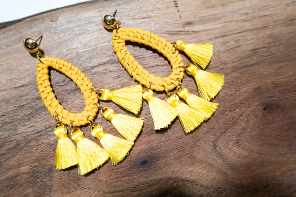 Mustard Woven Fringe Earrings