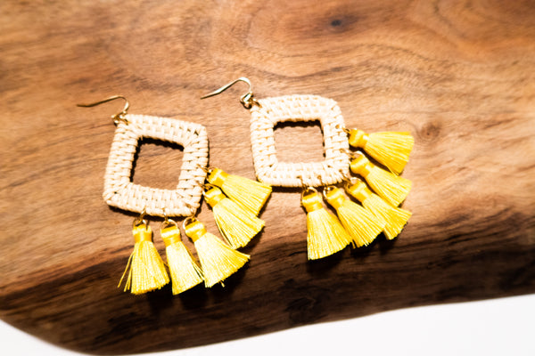 Woven Diamond Shaped Fringe Earrings