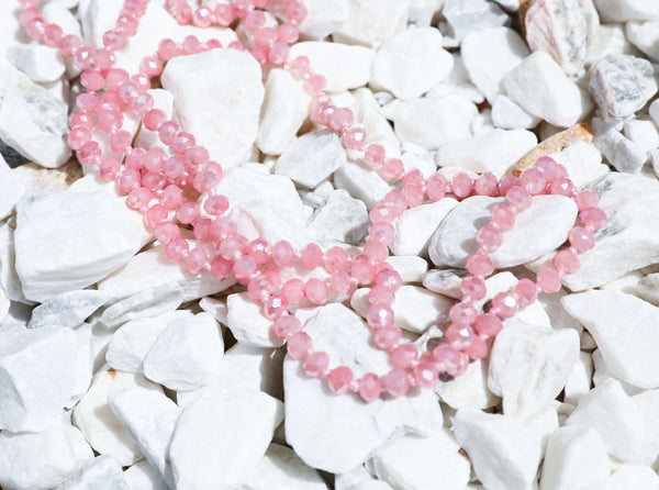 "Bubblegum pink // 60"" beaded necklace"