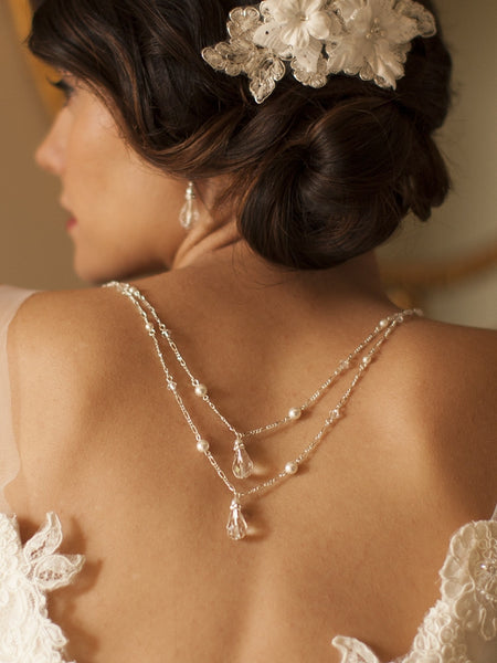 Draped Figaro Chain Teardrop Back Necklace for Bridal or Prom