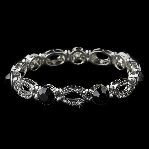 Beautiful Silver Stretch Bracelet with Black Crystals 10416