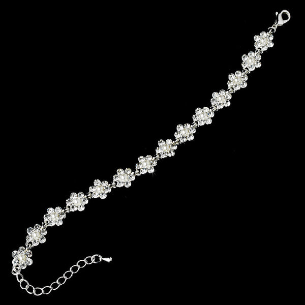 * Silver and White Pearl Floral Chain Bracelet B 156