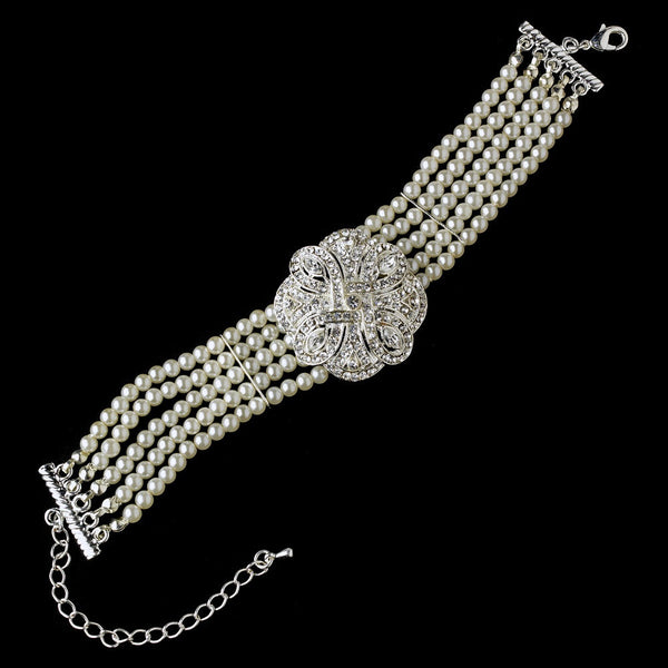 Classic Silver Clear Crystal & Pearl Bridal Bracelet 600