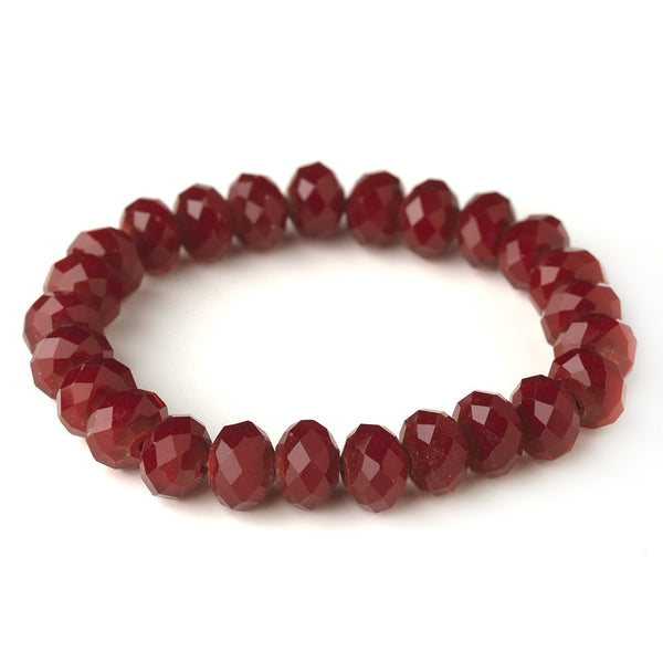 Ruby Red 10mm Stretch Bracelet 7613