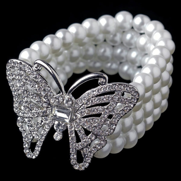 Antique Silver White Pearl Stretch Butterfly Bracelet 81788