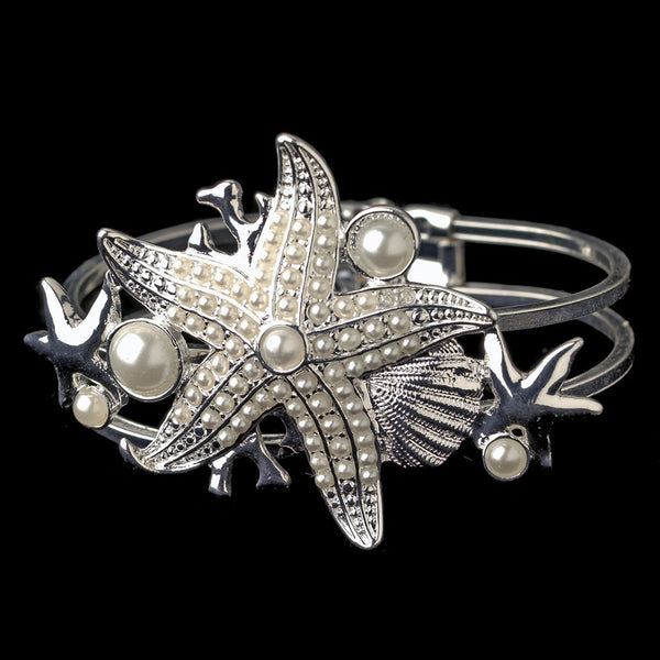 Silver Diamond White Pearl Beach Shell Starfish Bangle Bracelet 82029