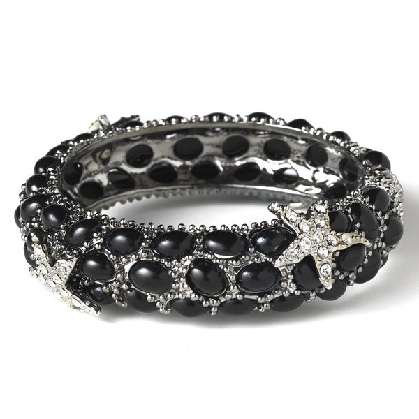 Black Pearl Enamel Bangle Bracelet with Rhinestone Starfish Embellishments 8335