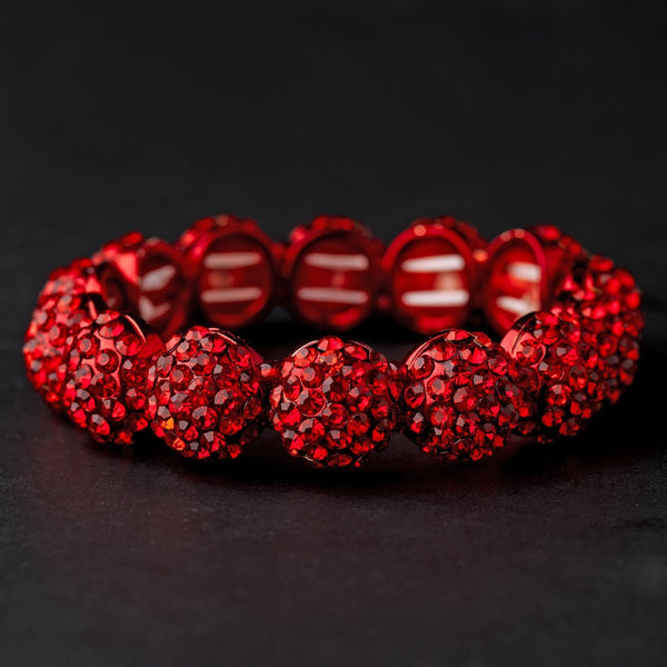 Red Pave Ball Stretch Bracelet 8543