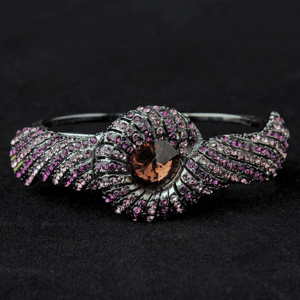 Hematite Amethyst Crystal Bridal Beach Seashell Bangle Bracelet 8662