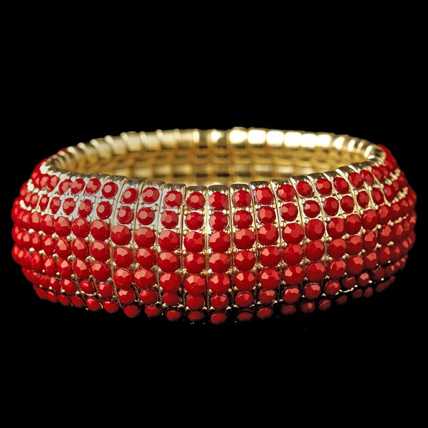 Gold Red Stretch Bracelet 8802