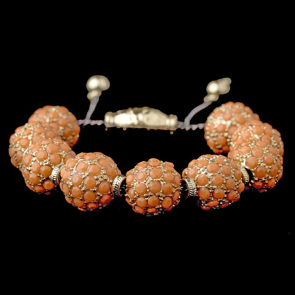 Gold Orange Jeweled Shambhala Pave Bracelet 8863