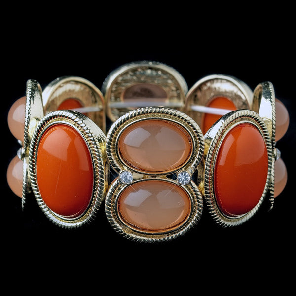 Multi Orange & Coral Jeweled Bezel Style Stretch Bracelet 8866