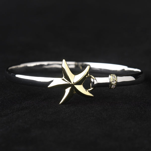 Silver & Gold Two Tone Starfish Bracelet with Rhinestone Embellishments 8870