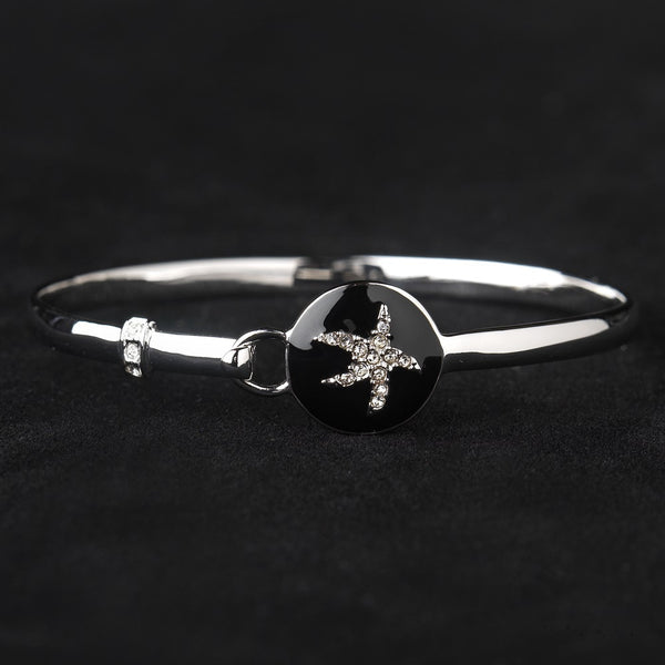 Black Enamel CZ Starfish Hook & Eye Style Bangle Bracelet 8940