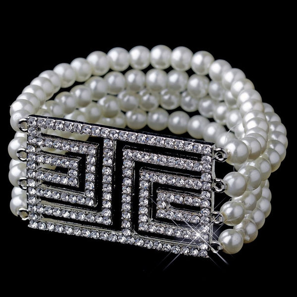 Antique Silver Ivory Pearl & Rhinestone Design Bracelet 9269