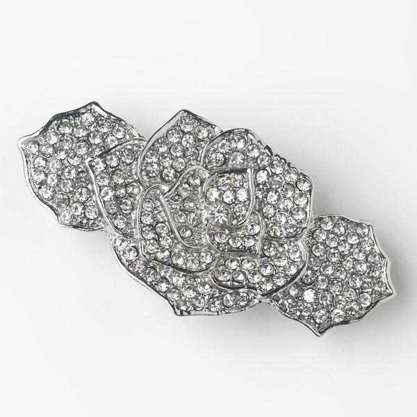 Rhinestone Covered Flower Hair Barrette in Antique Silver 70963