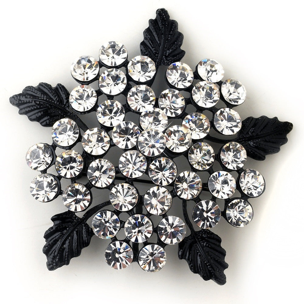 Antique Black Floral Leaf Rhinestone Brooch 149