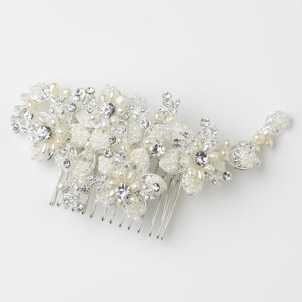 Bridal Textured Hair Comb Scattered with Pearl & Rhinestone Flowers 9650
