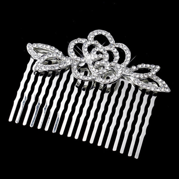 Antique Silver Clear Rhinestone Flower Comb 4010