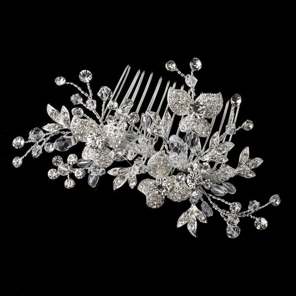 Crystal & Rhinestone Flower Vine Hair Comb 4464