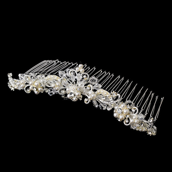 * Beautiful Swarovski Crystal & Pearl Flower Bridal Comb 7127