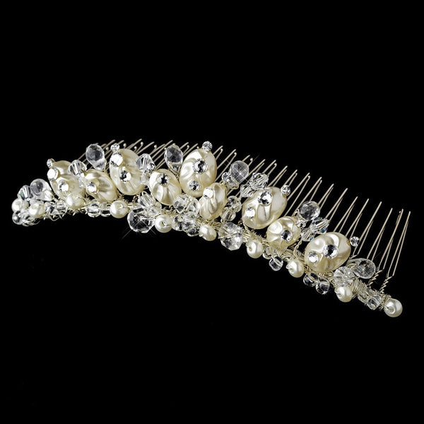 * Beautiful Pearl & Crystal Bridal Comb 7134