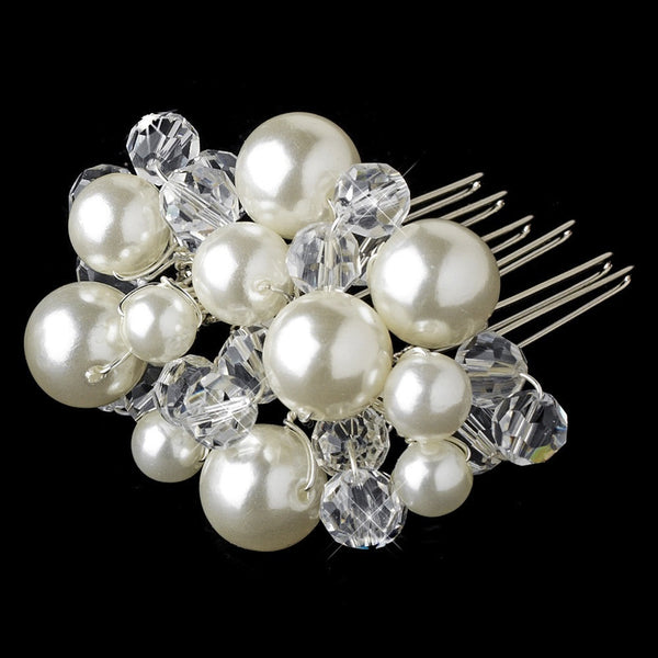 Beautiful Silver Clear Crystal & Ivory Pearl Hair Comb 8154