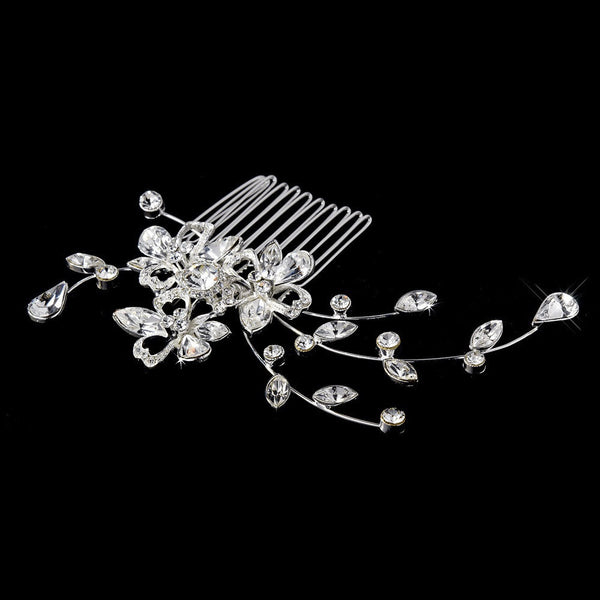 * Beautiful Silver Floral Bridal Comb w/ Clear Rhinestones 8239