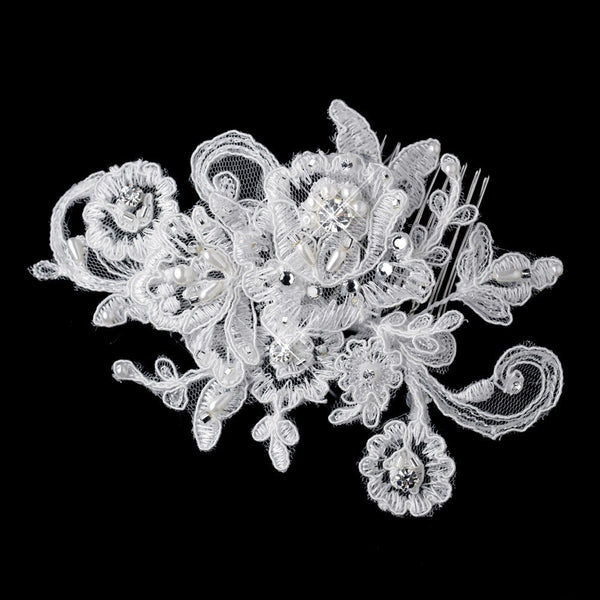 * Diamond White Pearl, Rhinestone & Bugle Bead Embroidered Mesh Fabric Flower Hair Comb 9723