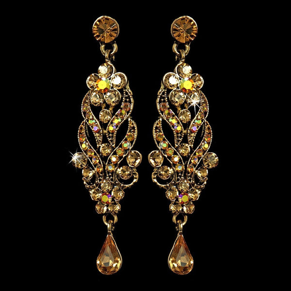 Antique Gold Tppaz Dangle Earrings E 1027