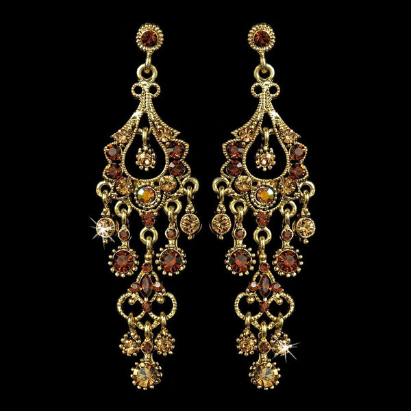 Antique Gold Topaz AB Crystal Chandelier Earrings 1028