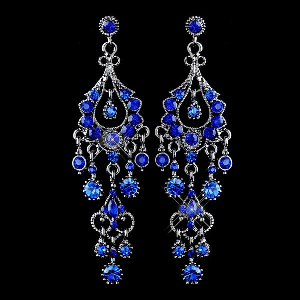 Antique Silver Blue Rhinestone Chandelier Earrings 1028