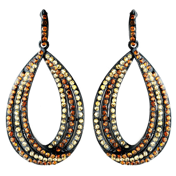Topaz and Brown on Black Earring Set 1058
