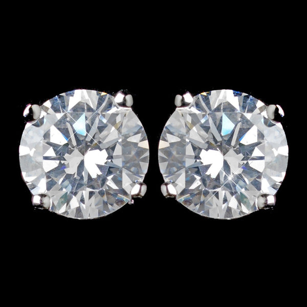 Rhodium Clear Round CZ Clip On Earrings