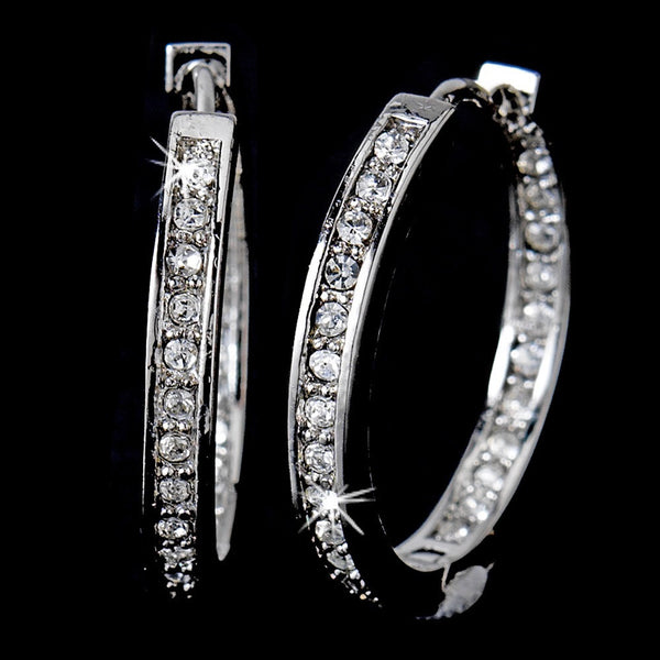* Gorgeous Antique Silver Clear CZ Hoop Earrings 2020