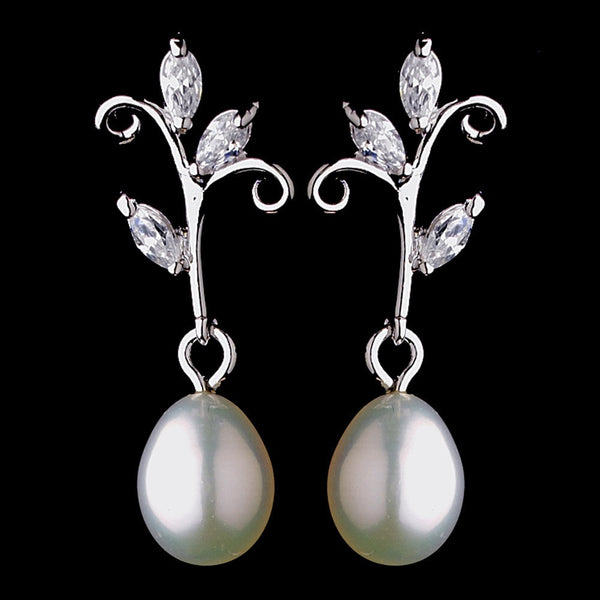 Antique Silver Freshwater Pearl Earring Set 2029