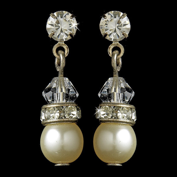 Gold and Ivory Pearl Earrings E 212