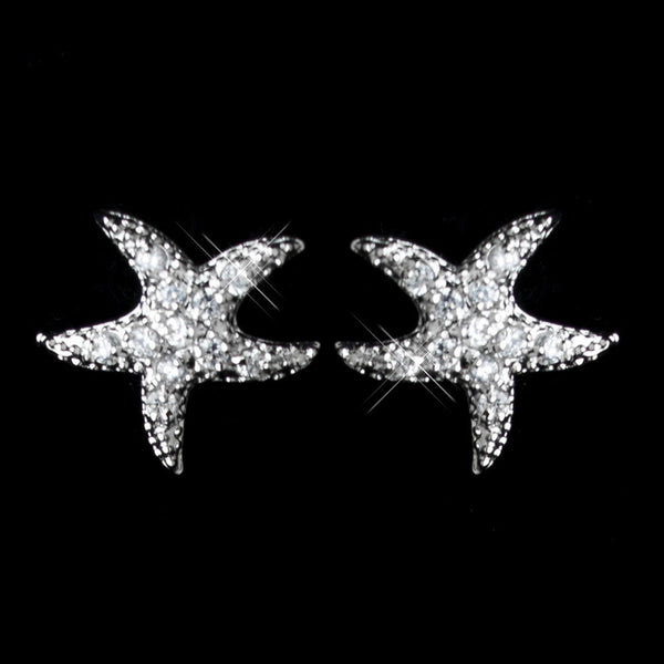 Antique Rhodium Silver CZ Crystal Starfish Earrings 2293