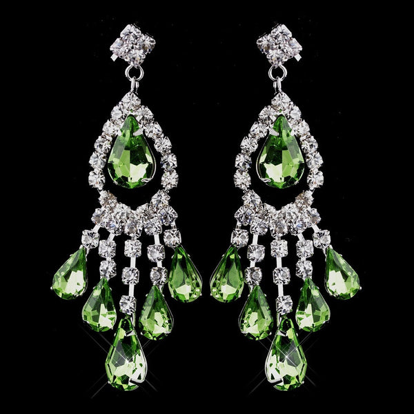 Silver Peridot Chandelier Earrings 24792