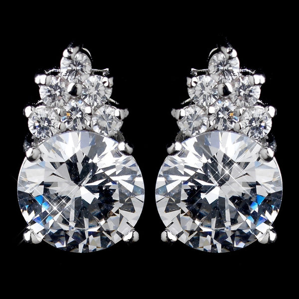 Silver Clear Round CZ Crystal Stud Earrings E 2499