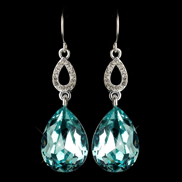 Silver Aqua & Clear CZ Crystal Drop Earrings 25285