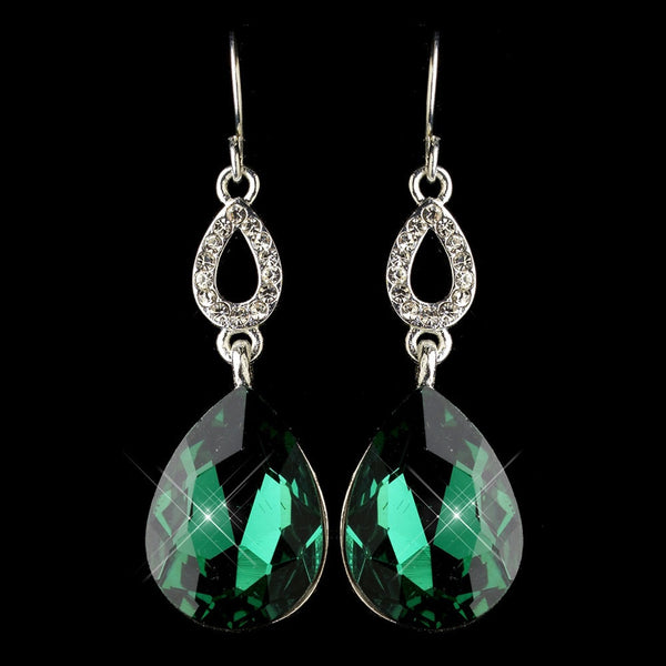 Silver Emerald & Clear CZ Crystal Drop Earrings 25285